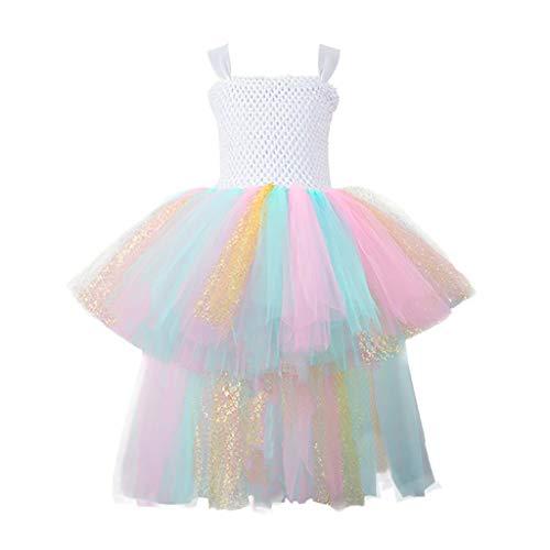 PHILSP Vestido para niños Disfraz de Halloween Cosplay Vestido de Princesa Sin Mangas Tirante Malla Tutu 4T