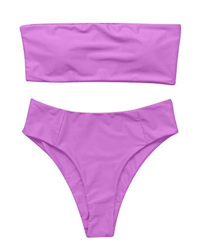OMKAGI Women's 2 Pieces Bandeau Bikini Swimsuits Off Shoulder High Waist Bathing Suit High Cut(Small,Purple)