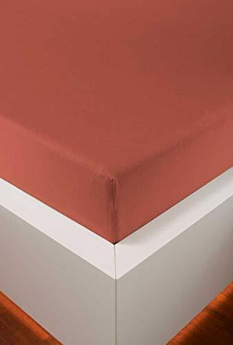 Schlummerglück Spannbetttuch mit hochwertigem Tencel, Falten- und bügelfrei, ideal für höhere Matratzen/Boxspringbetten, versch. Größen und Farben wählbar (Chili, 180-200 x 200-220 cm)