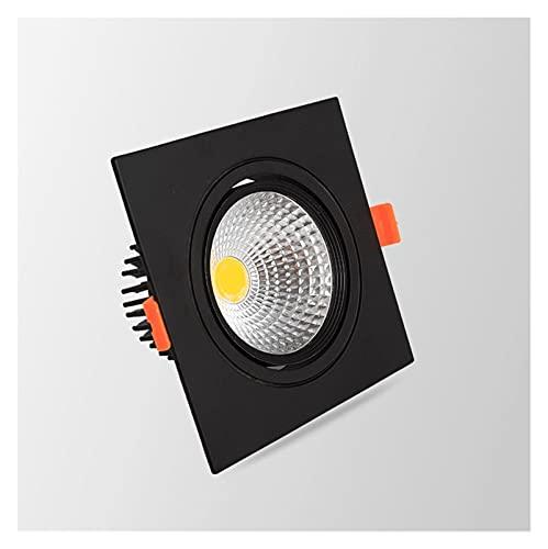 YSJJJBR Foco Empotrable LED Cuadrado pimmable Empotrado LED COB Downlights 7W 9W 12W 15W 18W LED Luces de Techo AC85-265V Iluminación Interior fría Caliente. (Body Color : Black 2, Size : Warm White)