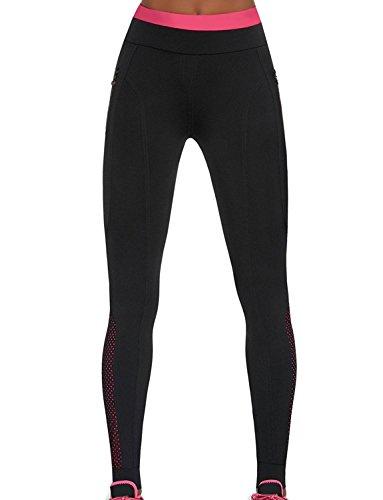 Bas Bleu Inspire Leggings Dame Sport Hosen Lang Taschen Gemustert Hoher Bund EU, schwarz-pink,5/XL/42