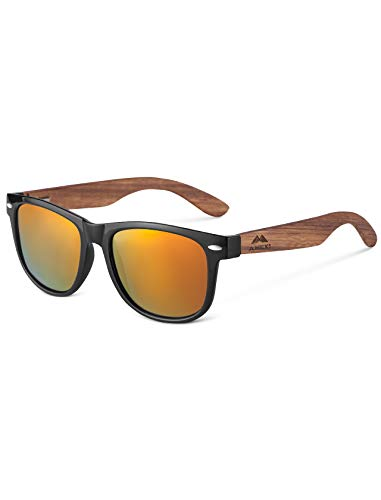 GreenTreen Gafas de Sol Polarizadas Hombre y Mujere, Gafas Ligeras con Patillas de Madera (amarillo)