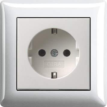 Preisvergleich Produktbild GIRA Komplett Set SCHUKO 1x Steckdose 018803 + 1x 1fach Rahmen 021103 Reinweiß glänzend,  Standard 55