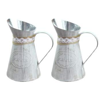 WINOMO Vaso di Fiori in Metallo Vintage Ferro Shabby Chic Fioriere Brocca Vaso Zincato Lattina di Latte Vaso Brocca di Latte Vaso di Fiori Rustico Secchio Contenitore Porta Fattoria