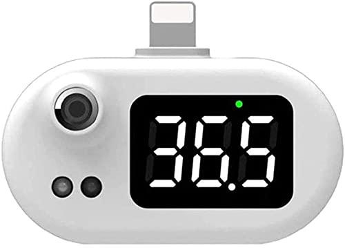 Teléfono Móvil Inteligente Termometro Sin Contacto con Pantalla Digital LED & Recordatorio de Alta Temperatura Adecuado para Teléfono Android iOS Apple Ligero y Fácil de Llevar (iPhone)