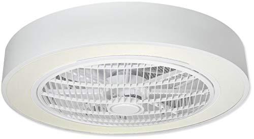 Plafondlamp met ventilator, 60 W, wit gelakt, 3000 K/4000 K/6000 K, afstandsbediening, modern design, elegant en eenvoudig met drie snelheden, wit gelakt.