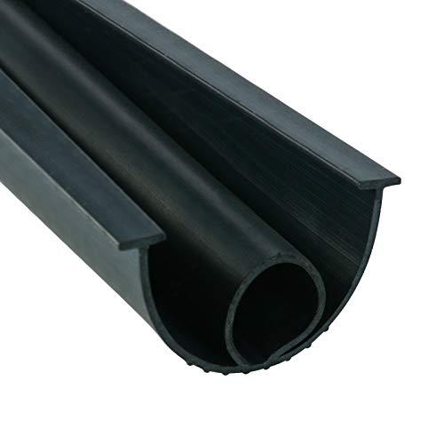 DasMarine Garage Door Seal Bottom Rubber Weatherproofing Threshold Buffering Replacement Black (3/8 Inch T-End,10FT Long)