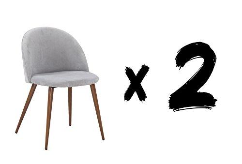 Suárez Gris Pack de 2 sillas Velvet, Acero, 59x55x65 cm