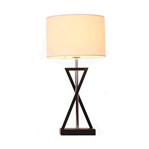 Lámpara de mesa moderna, mesita de noche, lámpara de cabecera con base de pintura de hierro forjado y pantalla de tela de alta calidad para sala de estar, dormitorio XYJGWSTD