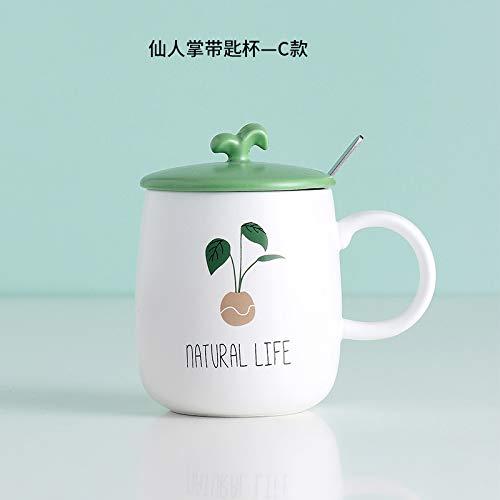 HAOQIANG Taza de ceramica Simple Taza de cafe Creativa nordica Taza de Leche para el Desayuno 440 ml Estilo Cactus-c (con Cuchara con Tapa)