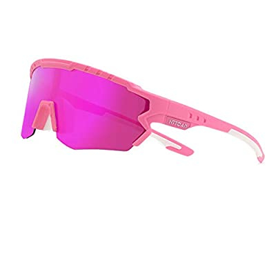 HTTOAR Polarized Sports Sunglasses Lenes for Men Women Cycling Running Driving Fishing Golf Baseball Glasses Bicycle Glasses Goggles (Pink)