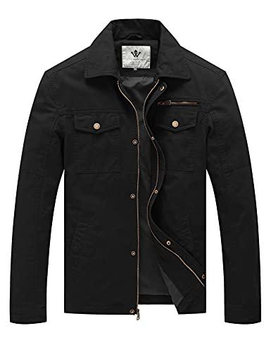 WenVen Men's Laydown Collar Canvas Cotton Military Jacket (Black,M)