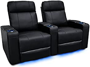 Valencia Piacenza Home Theater Seating   Premium Top Grain Nappa 9000 Leather, Power Recliner, LED Lighting (Row of 2, Black)