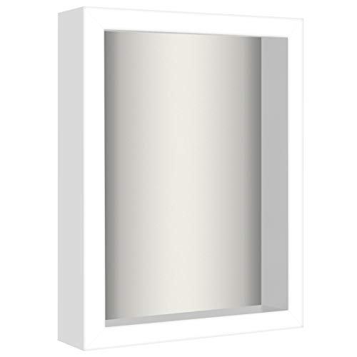 Americanflat 8.5x11 Shadow Box Frame in White with Soft Linen Back - Composite Wood with Shatter Resistant Glass for Wall and Tabletop