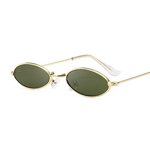 Chudanba Moda para Mujer Gafas de Sol Famosas, ovaladas, Gafas de Sol, de Metal, Redondos, Rayos, Marcos, pequeñas Gafas,Oro Deepgreen