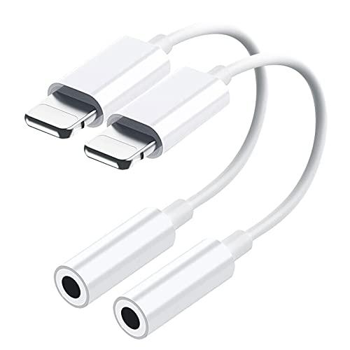 [Certificado Apple MFi] Paquete de 2 adaptadores de Auriculares para iPhone a Jack de 3,5 mm Convertidor de dongle de Audio Auxiliar Compatible con iPhone 12/11/XR/X/8/7 Compatible con Todos los iOS