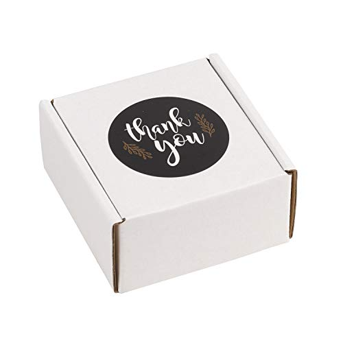RUSPEPA 25 Pack Shipping Boxes Attached 25 PCS Thank You Stickers, Small Recycled Corrugated Cardboard Box Mailers Perfect for Shipping - 4' x 4' x 2' - Oyster White