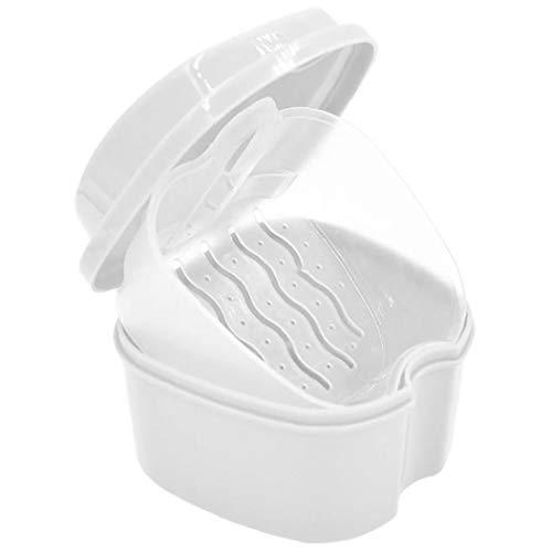 Berrywho 1PC Caja Fuerte con la dentadura Simple recuperación Tab Caso del baño de la dentadura Dientes Falsos de Almacenamiento Premium Boca Guardia Safe Guard dentaduras y Objetos de Valor (Blanco)
