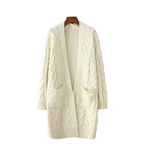Fansu Donna Elegante Cardigan Lavorato a Maglia, Maglione Giacca a Manica Lunga Cappotto Coprispalle Cardigan per Autunno Inverno (Tutto,Bianco)