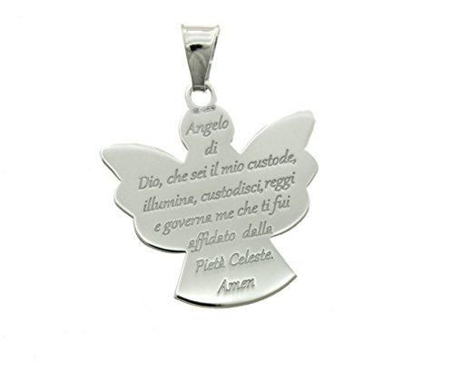 Ciondolo angelo con preghiera Angelo di Dio in argento 925 sterling placcato oro bianco misure 20 X 19 mm peso:1,3 g