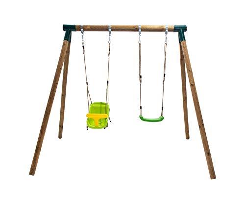 | MASGAMES | Columpio doble Kibo | con asiento bebé + asiento plano | cuerdas regulables | anclajes incluidos | uso doméstico |