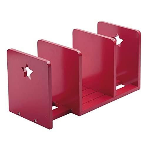 Sujeta Libros Libro Finalizadas Kids Bookends Expandible Wood Desktop Bookshelf para Regalos Infantiles Book Stand Telescopic Storage Sartelend sujetalibros estanteria (Color : Red)