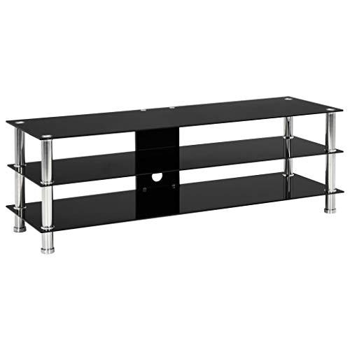 vidaXL TV Tisch mit 2 Glas-Regalböden TV Möbel Schrank Board Lowboard Fernsehschrank Fernsehtisch HiFi-Schrank Schwarz 120x40x40cm Gehärtetes Glas
