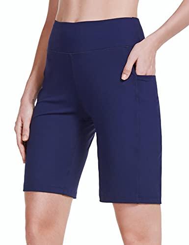 BALEAF Damen 25,4 cm Athletic Bermuda Lange Shorts Hohe Taille Laufen Workout Stretchy Taschen Shorts - marineblau, size: Klein
