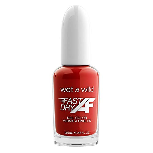 Wet n Wild Fast Dry AF Nail Color, Long-Lasting Nail Polish, Red Light District (Red)