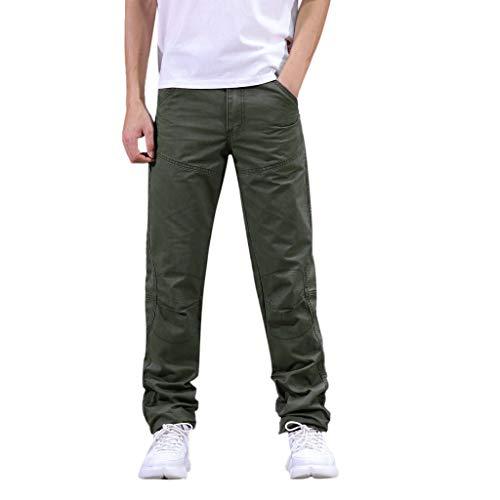 Makalon herenbroek, casual, normale pasvorm, nieuwe stijl, broek, heren, rechte snit, casual, comfortabel, slim, herenbroek, overtrek, elastische riem, sport, legergroen, 33)