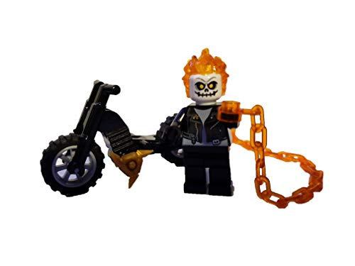 LEGO Ghost Rider - Custom Flame Ghost Rider Minifigure with Flame Chain Whip and Motorcycle