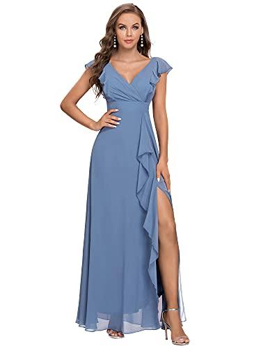 Ever-Pretty Damen V-Ausschnitt Ärmellose Bodenlange A-Linie Empire Taille Elegante Chiffon Ballkleider Abendkleider mit Seitenschlitz Staubige...