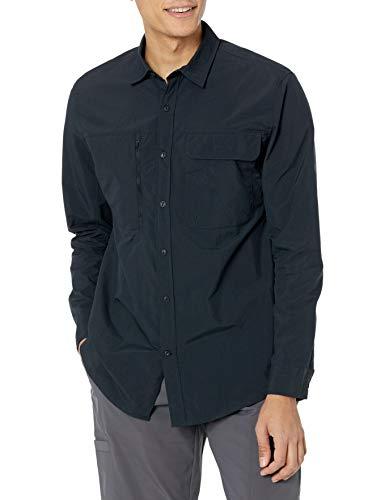 Amazon Essentials Regular-Fit langärmliges Wanderhemd mit Feuchtigkeitstransport Hemd, Schwarz, XXL