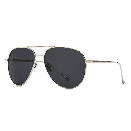 SUNGAIT Gran Tamaño Gafas de Sol Ligeras para Mujer con Lente Polarizada Espejada(Plateado/Gris)-SGT603