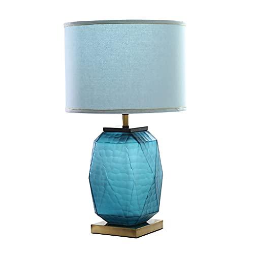 Lámparas de mesa Lámpara de mesa moderna Lámpara de cama de litro de cama de vidrio azul dormitorio Corredor de tela Pantalla de pantalla Interruptor de botón Iluminación Lámpara decorativa Lámpara de