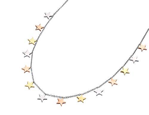 yrfchgj Collar Diseño Original Titanio Acero Inoxidable 3 Estrellas Color Dorado Collares con Dijes Colgante Collar De Cadena para Mujeres