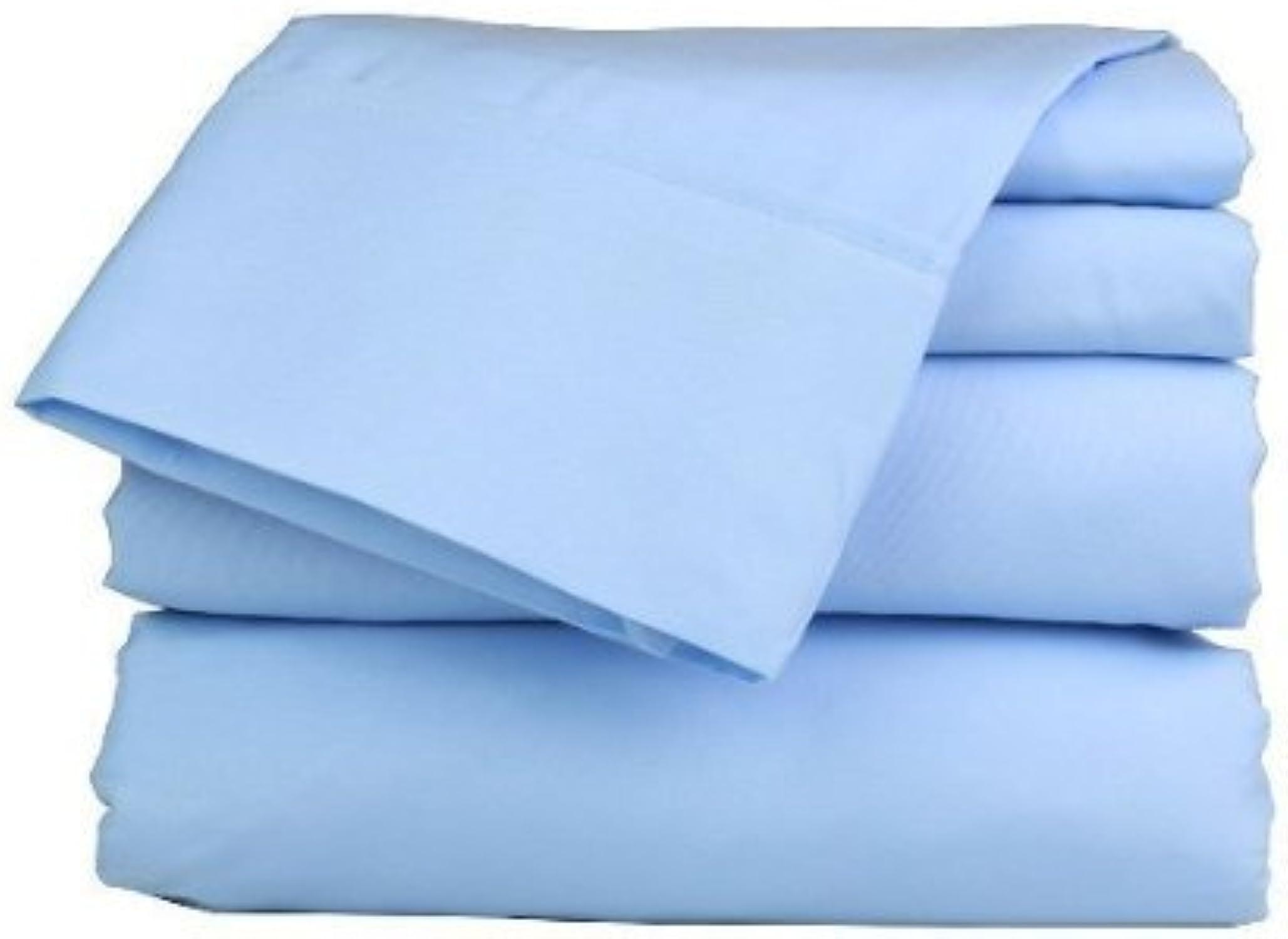 Dreamz Bedding Italien supérieure 450-thread-count Coton égypcravaten de lit 66cm Poche Profonde suppléHommestaire Euro Double IKEA, Bleu Clair Bleu Ciel Solide, 450tc Parure de lit 100% Coton