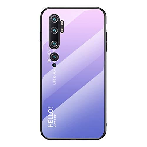 LUSHENG Capa para celular Xiaomi Mi Note 10/Note 10 Pro/CC9 Pro, cor gradiente, vidro temperado, capa traseira de TPU macio, para Mi Note 10/Note 10 Pro/CC9 Pro (6,5 polegadas) - Rosa + Roxo