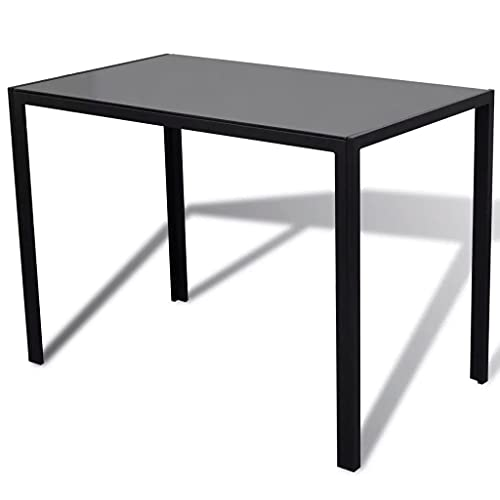 Dripex Modern High Gloss Dining Table with Glass Table Top and Metal Legs, Rectangle Black Kitchen Dining Room and Restaurant Furniture Table for 4-6 Seater (Only Table, 120 x 70 x 75cm)