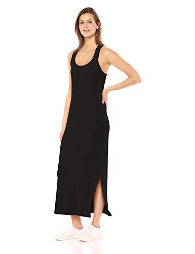 Daily Ritual Women's Supersoft Terry Standard-Fit Racerback Maxi Dress, Black,Large