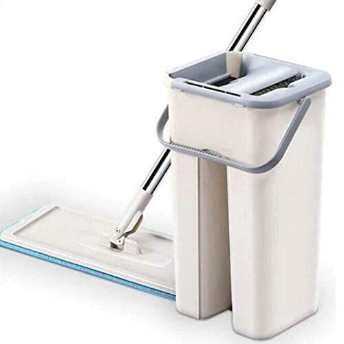 Pyude Set di secchi per mop Piatto autopulente Kit di Strumenti per la Pulizia del mop della procedura Guidata della Polvere Mop Senza Mani Rotante a 360 Gradi per la casa Mop Bagnato e Asciutto
