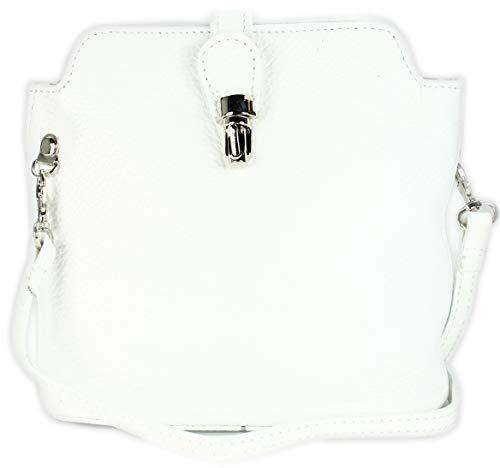 Belli kleine edle ital. Leder Handtasche Umhängetasche in weiß - 18x20x8 cm (B x H x T)