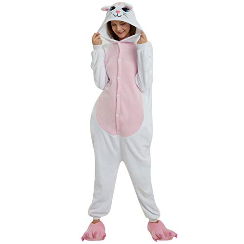 theshyer Pijamas Casuales de Mujer con patrón de Gato de Dibujos Animados Pijamas Lindos de una Pieza, adecuados para el Ocio en el hogar