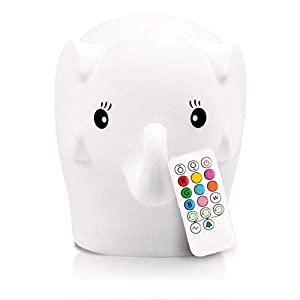 LED Nursery Elephant Night Light for Kids LumiPets Cute Animal Silicone Baby Night Light with Touch Sensor – Portable and Rechargeable Infant or Toddler Color Changing Bright Nightlight & Baby Gifts