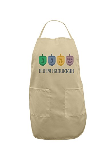 Happy Hanukkah Dreidels Adult Apron - Stone - One-Size