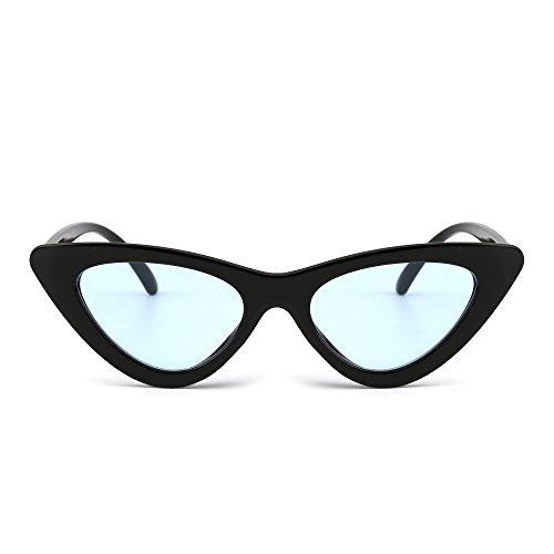 JM Gafas de Sol Retro Ojos de Gato Clout Goggles Lentes Lindos Plásticos Teñido Anteojos Mujer(Negro/Azul) 🔥