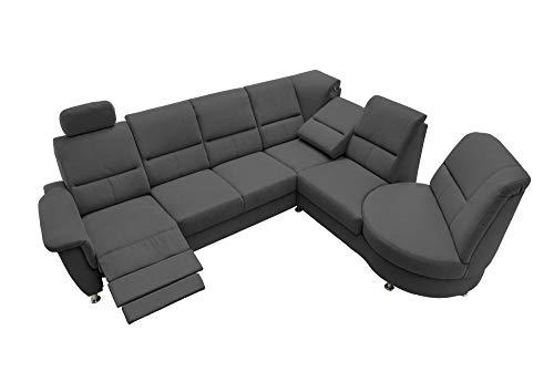 lifestyle4living Ecksofa mit Relaxfunktion in Schwarz, 4-Sitzer Relaxsofa, USB, Microfaser-Stoff/Federkern-Polsterung | Gemütliche Relax-Couch in modernem Design