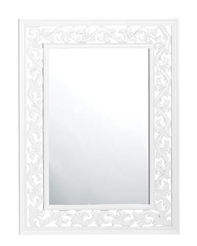 dasmöbelwerk Wandspiegel Spiegel Landhaus eckig 80 x 60 cm mit Holz Rahmen weiß 01.189.01