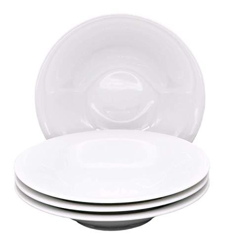 Kahla 32B264A90032C Update Tellerset für 4 Personen Porzellanteller 4-teilig Suppenteller Tiefe Teller rund weiß Pastateller ohne Dekor