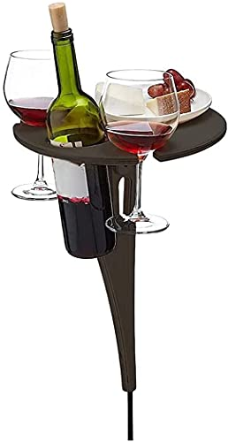 LXNQG Stake Portable Folding with Storage, Wooden Picnic Table with Wine Glass Holder, Gifts for Wine Lovers, Beach Wine Tables for Sand And Grass (Color : B) (Color : A)